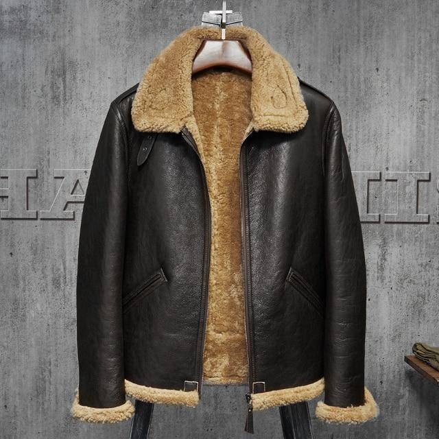 Pilots Coat Men's Shearling Sheepskin Jacket Men's Fur Coat ...