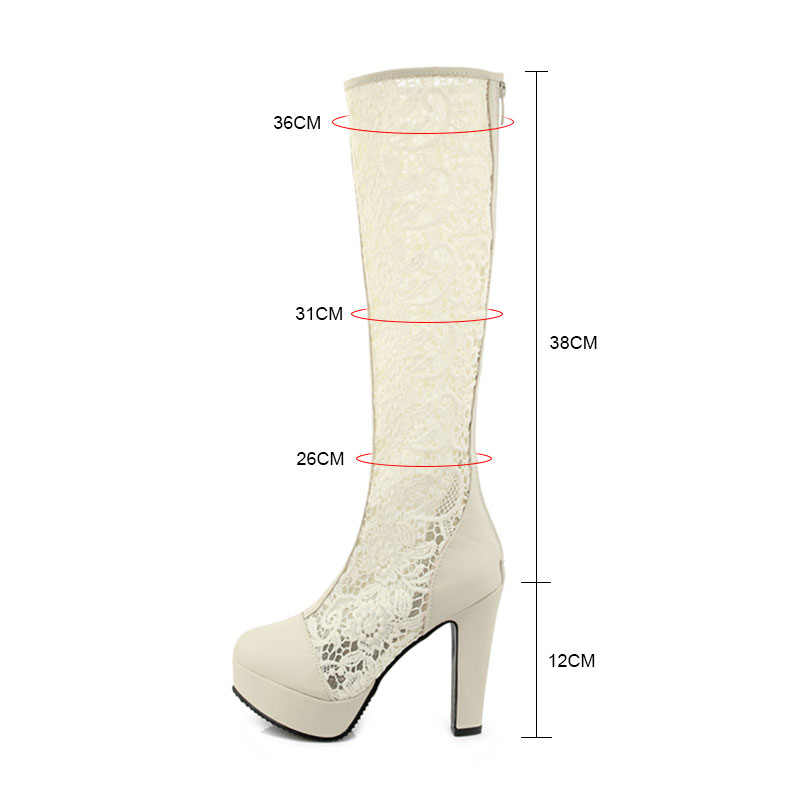 white Épais Genou Haut black Bottes Beige 43 Plate Fanyuan 33 Gladiateur Dentelle Femmes Mode Chaussures D'été Fleur Taille forme Talon Haute 7wp1xRP