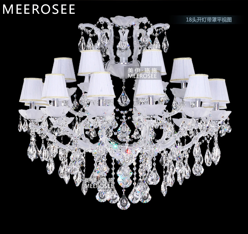 Classic Maria Theresa Chandelier Clear Crystal White Glass 18 Lamp - Pencahayaan dalaman - Foto 4