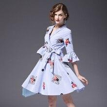 fb0d2bd11c8af 2018 Klasyczny Kobiety Bawełniana Sukienka z Haftem Paski Sukienki  Eleganckie Słodkie Panie Ubrania ssd097(China