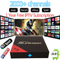1 ano europa itália árabe 2000 + canais de iptv android 6.0 caixa de tv E8 HD suporte H.265 4 K HDMI2.0 DLNA Inteligente mini pc tv android caixa