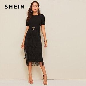Image 3 - שיין אלגנטי מתכת כפתור פירוט שכבות פרינג שחור עיפרון שמלת נשים גבוהה מותן מוצק קצר שרוול קיץ Slim ארוך שמלות