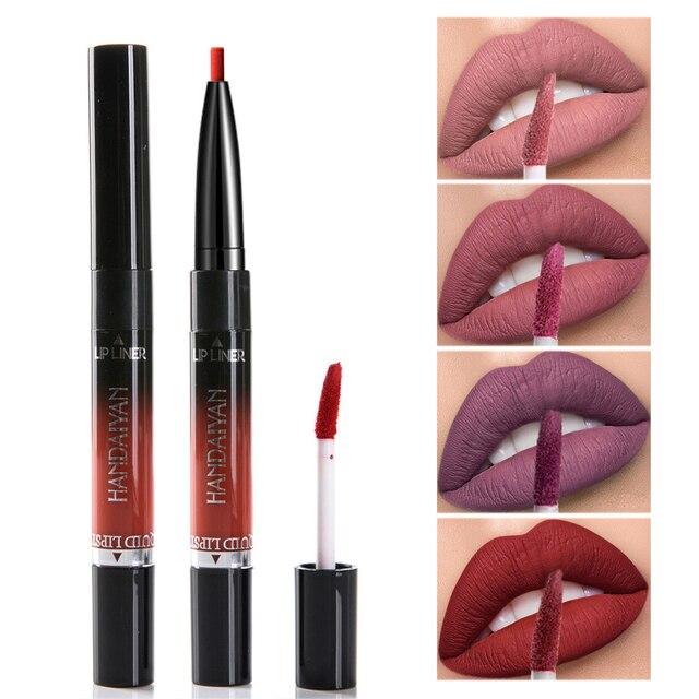 HANDAIYAN 2 en 1 doble-brillo de labios 14 colores mate lápiz labial líquido delineador de labios de cosméticos de maquillaje de labios a prueba de tinte de labios tatuaje