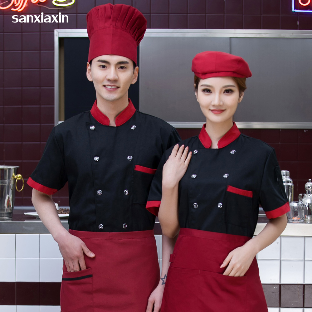 Unisex high quality chef uniform short sleeves Food Service restaurant catering Kitchen Chef Jackets chef coat
