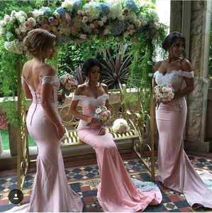 Image 5 - Pink Lace Applique Sexy 2018 new Mermaid Long Bridesmaid Dresses Maid Of Honor For Wedding Party With Train plus size maxi 2 26w