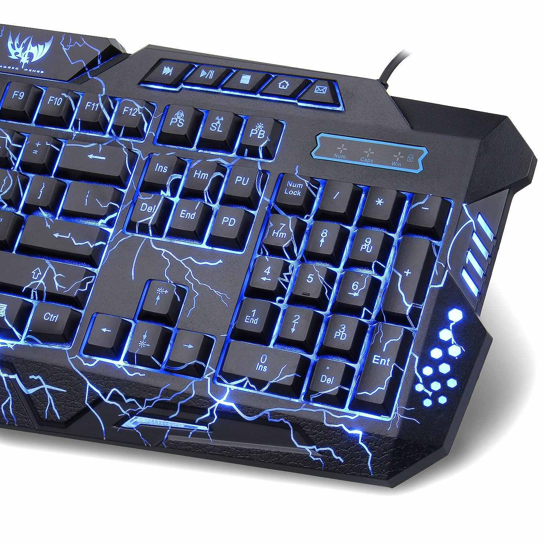 Gaming Lampu Latar Keyboard Rusia Bahasa Inggris Layout USB Kabel Bernapas Penuh Warna Tahan Air untuk Desktop Laptop Office Keyboard
