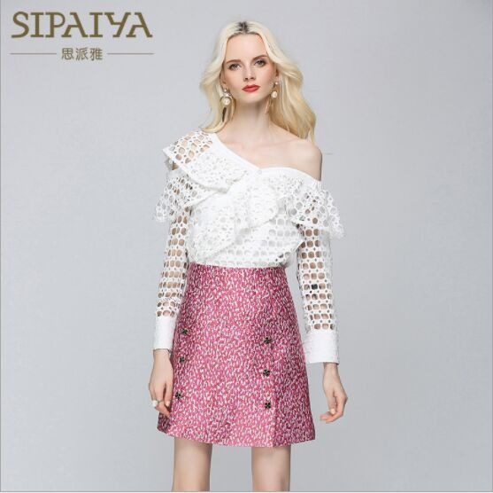 SIPAIYA Brand New Fashion Shirt Sexy Blouse Tops Lady 2018 Summer Autumn Long Butterfly Sleeve Ruffled Skew Collar Women Shirts