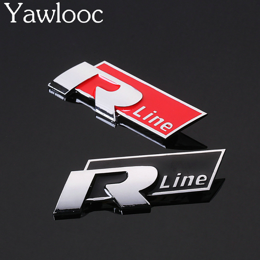 Yawlooc 1 pc Rline Metal Car Stickers Emblem For VW Volkswagen Golf 5 6 7 MK6 MK7 Passat B5 B6 B7 Tiguan Polo R line Car Styling