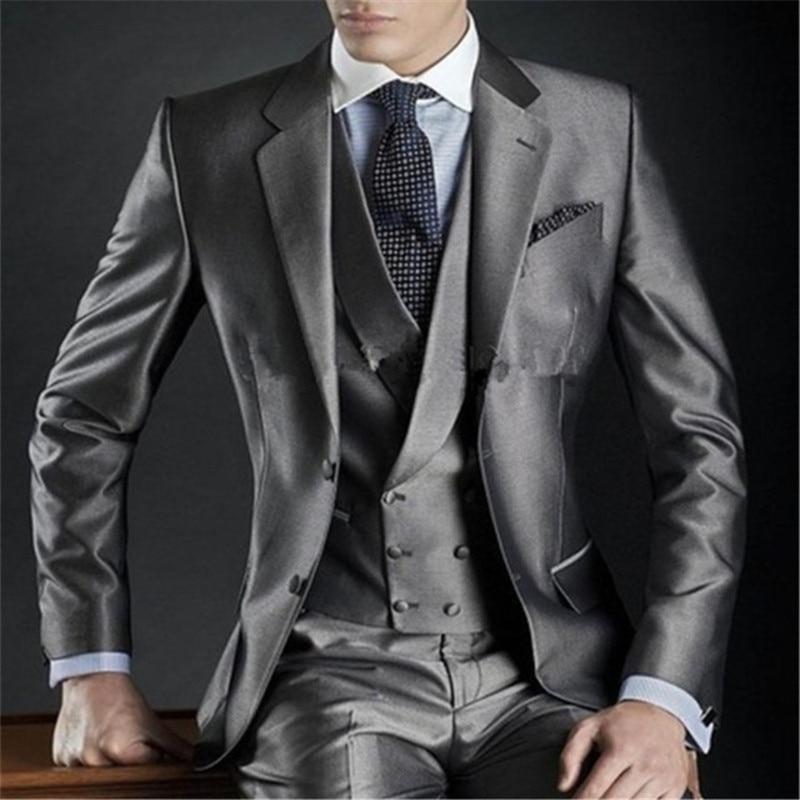 New Classic Grey Groom Tuxedo Wedding Men Suit 3 Pieces(Jacket+Pants+Vest+Tie) Notched Lapel Custom Made Slim Fit Prom Clothes