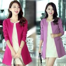 Fashion Women Long Blazer Jackets New Solid Casual Plus Size Coat Blaze