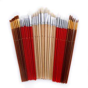 Image 2 - Ensemble de pinceaux à peindre avec un sac en toile, 38 pièces, avec un Long manche en bois, fournitures dart capillaire pour peinture aquarelle acrylique