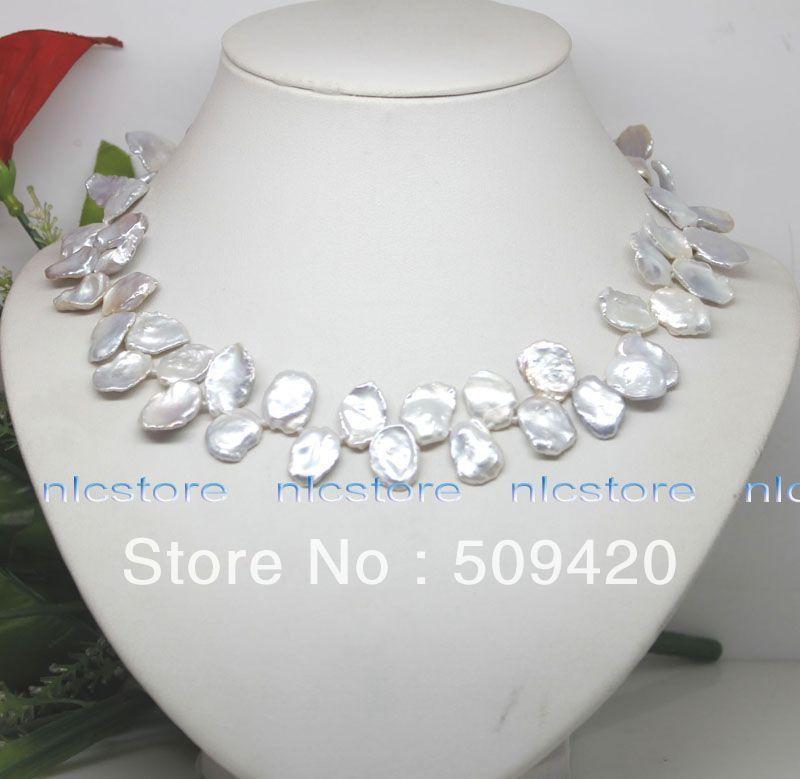 Shippinggenuine gratuit big white keshi collier de perles bijoux bijou