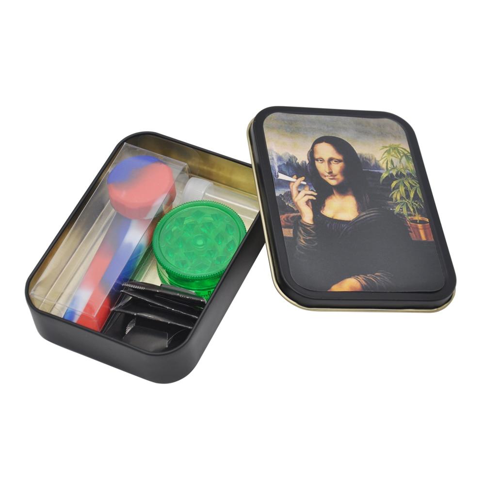 Smoking Set: 1x Metal Tobacco Box+1x Sil