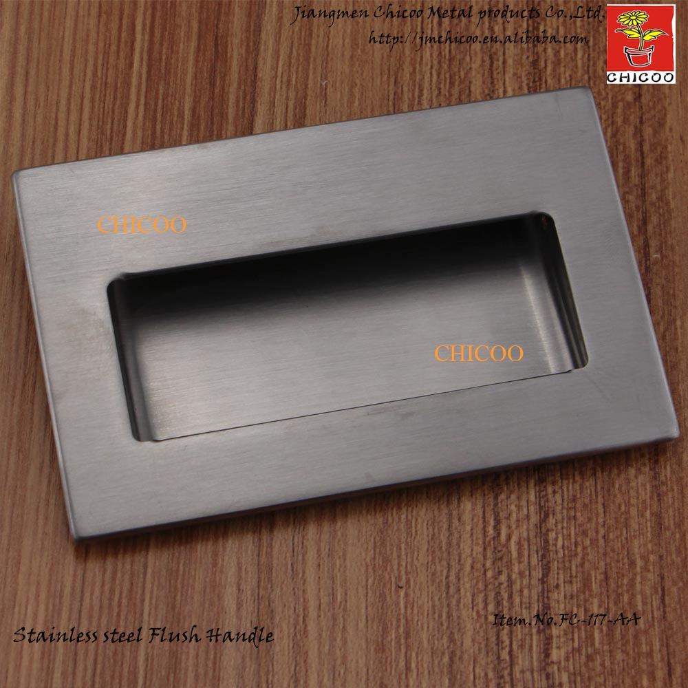 Stainless Steel 304 square handle invisible Recessed furniture Handle conceal drawer  flush pull mini stainless steel handle cuticle fork silver