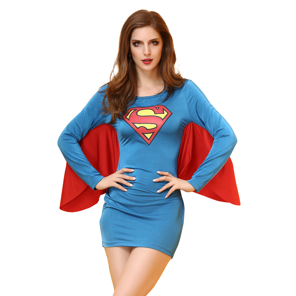 Superman Sexy Costume Women Halloween Costume Superhero Cosplay Costume Girls Tight Strapless Skirt With Cape 2 Styles
