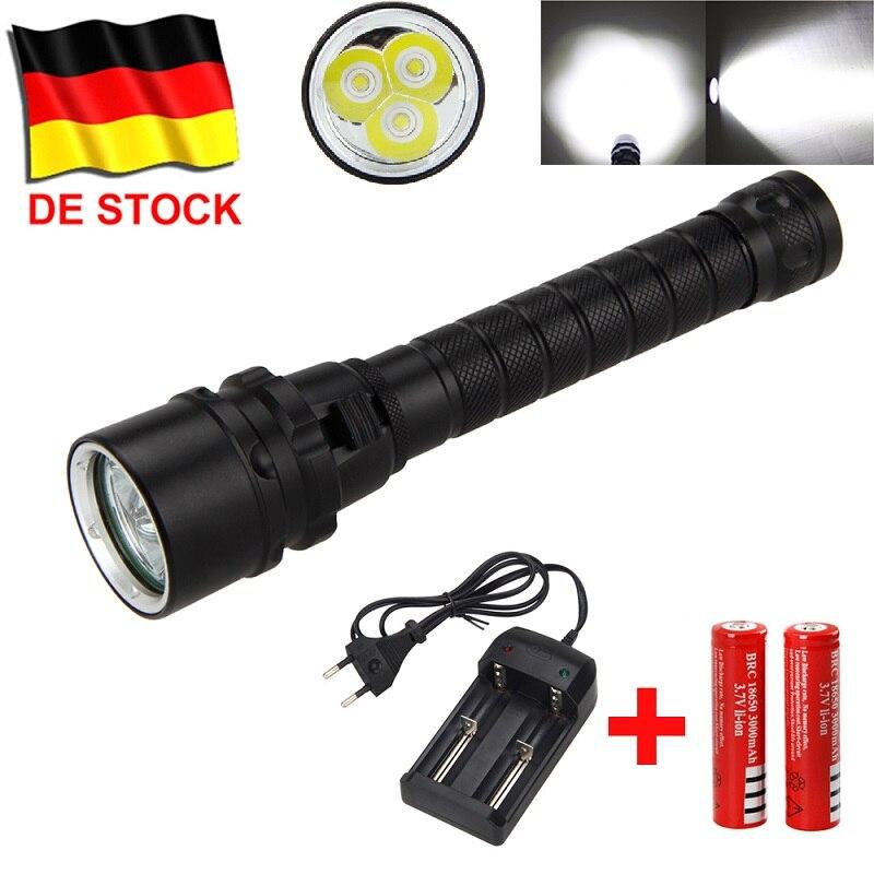 DE Stock Underwater 100m Diving Flashlight 1500 lumens LED Flashlight Torch + 18650 battery+Charger