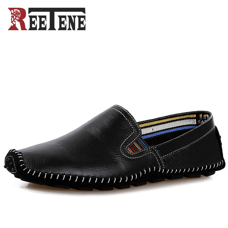 REETENE Big Size Men Driving Shoes Genuine Leather Good Quality Soft Men Loafers Comfortable Black Brown Blue Plus Size 47 good quality leather men flat shoes casual shoes soft men loafers comfortable solid color driving shoes eu 39 44