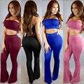 2 unidades set ropa de mujer 6 colores S-XL sexy Club mamelucos mujeres bodycon Pantalones Largos del mono de 2017 del verano más el tamaño bodysuit