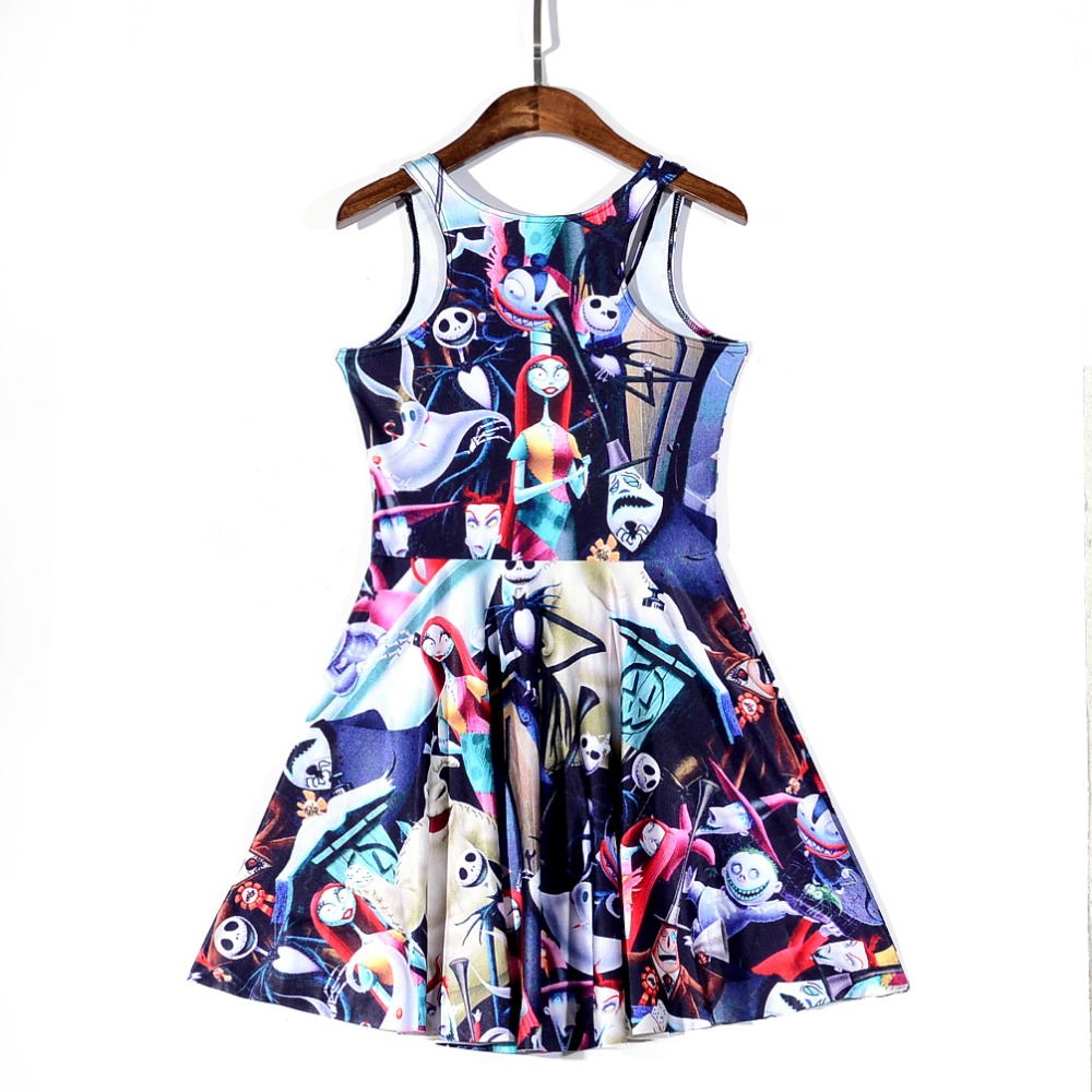 new 1160 sexy girl women summer the nightmare before christmas 3d prints reversible sleeveless skater pleated dress in dresses from womens clothing - Nightmare Before Christmas Clothing