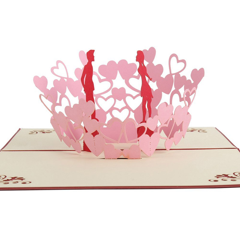 valentines day gift romantic 3d pop up greeting cards handmade kirigami anniversary wedding cards festival cards kt0265 in cards invitations from home