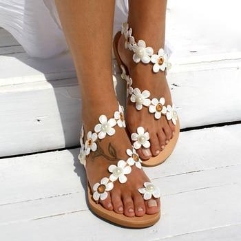 Women Sandals Bohemia Style Summer Shoes For Women Flat Sandals Beach Shoes 2020 Flowers Flip Flops Plus Size Chaussures Femme 4