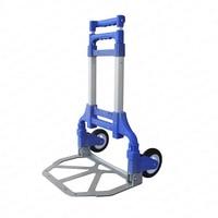 Aluminum Luggage Cart Trolley Folding Portable Shopping Car Rubber Wheel Trailer Car Luggage Cart Storage Basket Metal Baskets