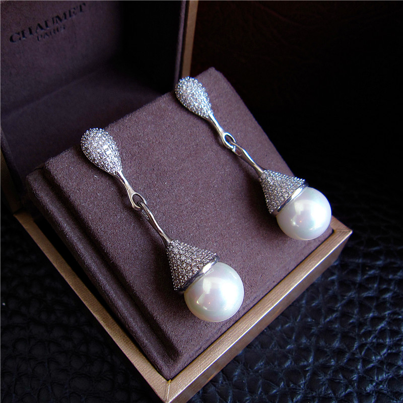Fashion AAA cubic zirconia with shell pearl drop earrings,Womens accessaries, E7351