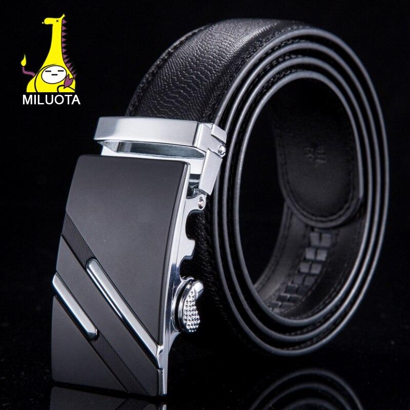 [MILUOTA] Fashion Designer Belts for Men Sliding Buckle Ratchet Men Belt Automatic Fashion ceinture homme WN003