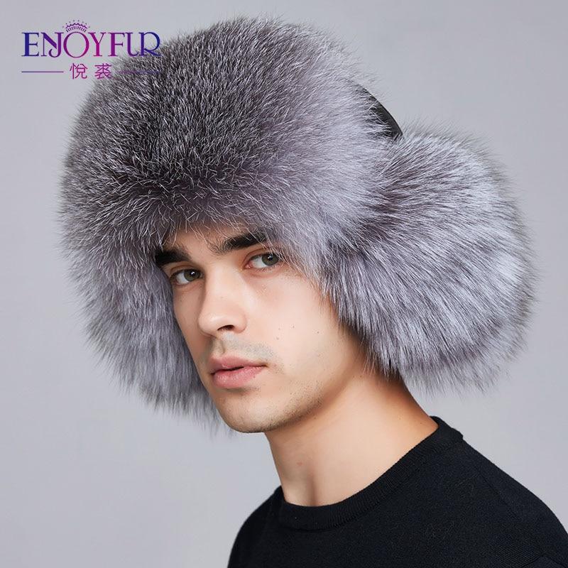 dbab93f89f2 Dropwow ENJOYFUR winter hat earflap men real fox fur hats russian ...