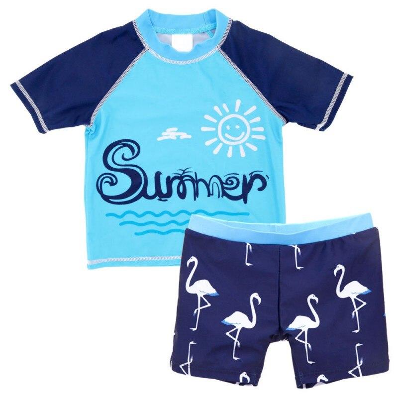 Baby Boys Swimsuit Infant Toddler Kids Children Summer Flamingo Whale Swimsuits Cartoon Baby Boys Beach Wear Korea Style 2pc