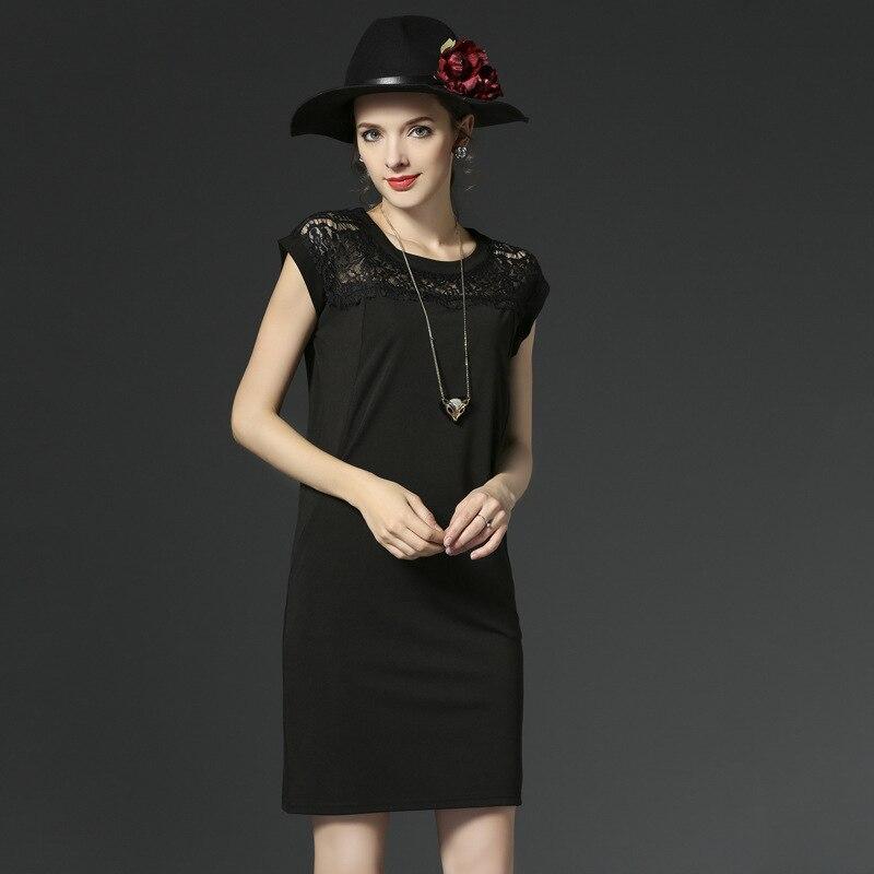 d66d3d9a29ec8 2017 d été nouvelles femmes de grande taille dentelle couture mince robe  col Rond manches courtes Noir robes robes plus la taille