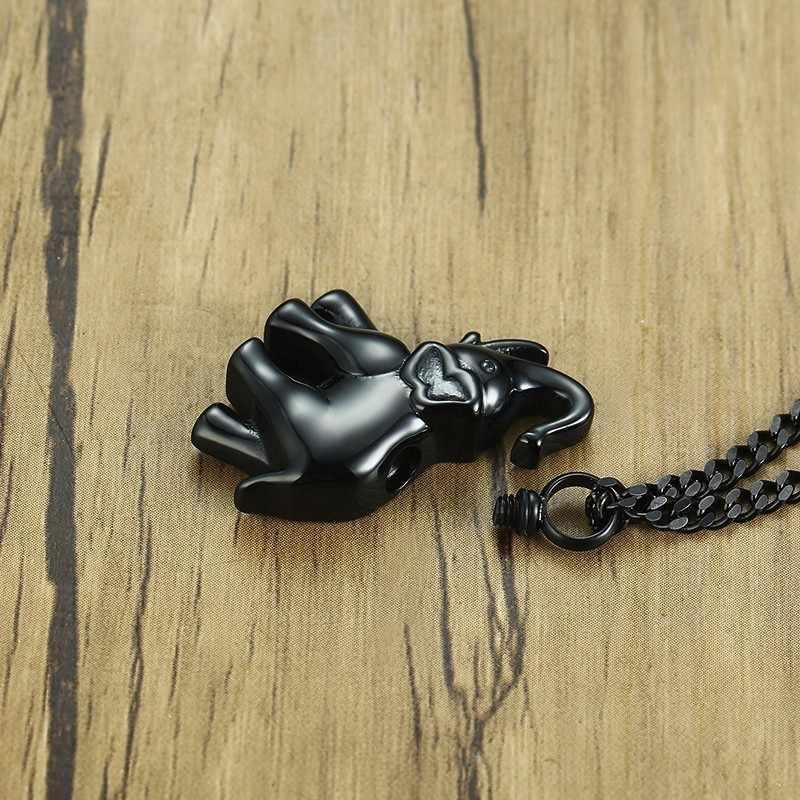 Słoń ze stali nierdzewnej wisiorek kremacyjny biżuteria dla kobiet mężczyzn ze stali nierdzewnej grawerowane Keepsake medalion naszyjnik na popiół
