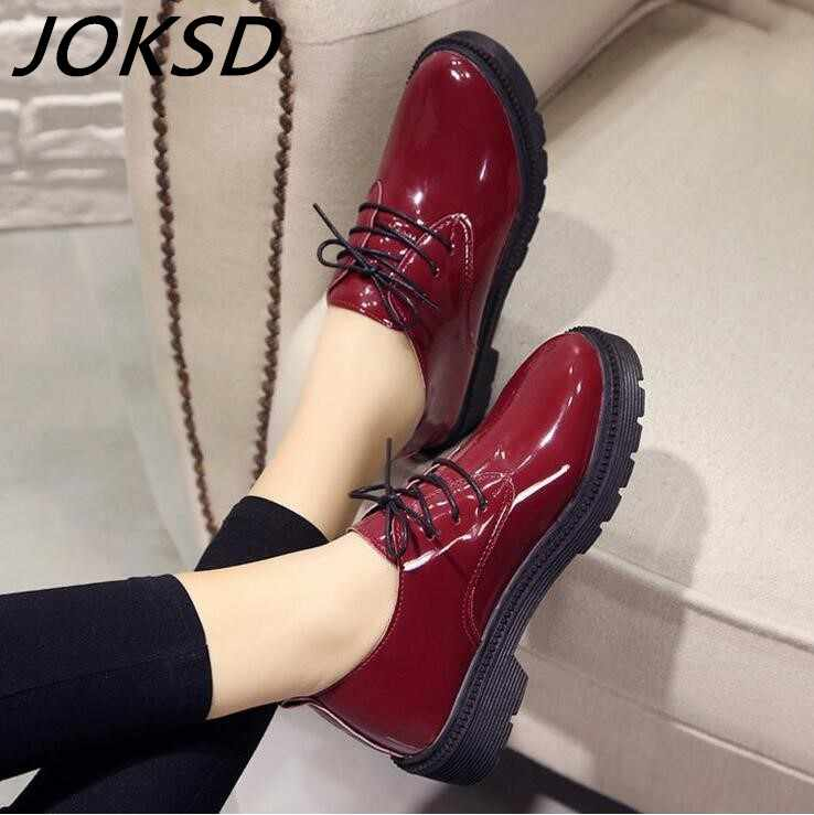 Yüksek Kaliteli Kadın oxfords Flats platform ayakkabılar Patent Deri Slip-on sivri Sarmaşık siyah Brogue Loafer'lar Marka XY16