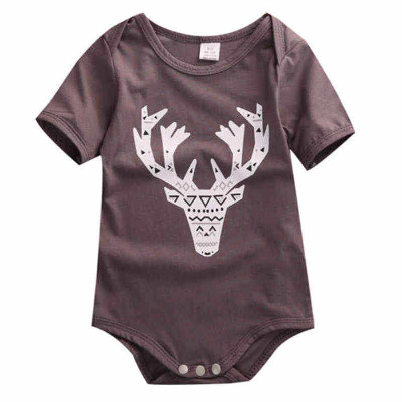 Newborn Baby Kids Boys Girls Animals Deer Printing Summer Romper Short Sleeve Casual Cotton Tops Jumpsuit