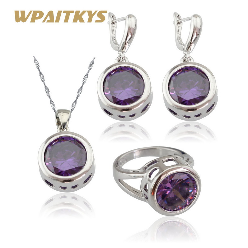 WPAITKYS Silver Color Jewelry Sets For Women Round Purple Cubic Zirconia Pendant Necklace Earrings Rings Free Gift Box 6pcs of stylish color glazed round rings for women