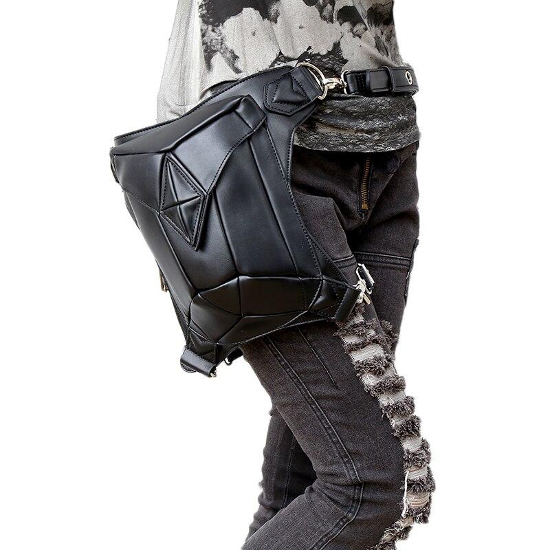 Fashion Gothic Steampunk Skull Retro Rock Bag Men Women Waist Bag Shoulder Bag Phone Case Holder Vintage Leather Messenger Bag 2