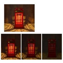 Lámpara de escritorio de cabina de teléfono tipo Sensor táctil Vintage, luz de noche de cama de dormitorio, Rojo