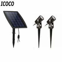 ICOCO New Waterproof IP65 Outdoor Garden LED Solar Light Super Brightness Garden Lawn Lamp Landscape Spot Lights Promotion Sale