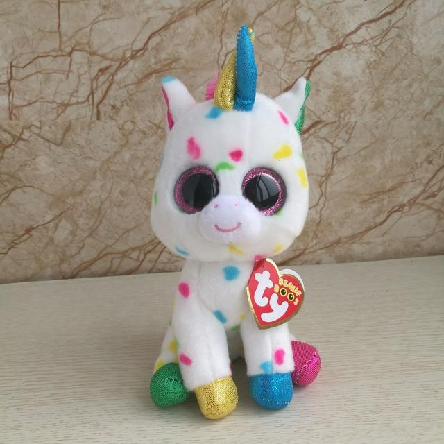 cb499d11d30 15cm In Stock Original Ty Beanie Boos Big Eyed Stuffed Animal harmonie  speckled unicorn Plush Doll Kids Toy 6   Birthday Gift