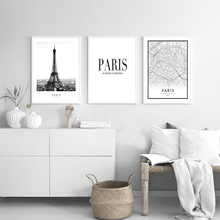 Modern Minimalistic Black And White Tower Paris Landscape Canvas Painting Print Picture Poster Mural Beautiful Home Decoration