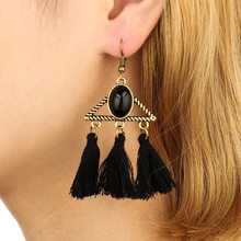 Luxury Alloy Triangle Dangle Earring Cotton Tassel Ribbon Flower Statement Ear Drop Earring For Women Wedding Jewelry(China)