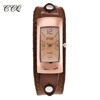 CCQ Luxury Brand Vintage Leather Bracelet Watches Women Fashion Relogio Feminino Casual Wrap Female Watch New