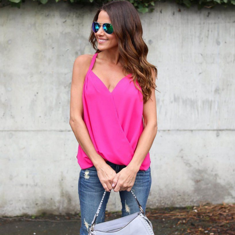 Casual Loose Women Deep V-neck Chiffon Blouses Sexy Sleeveless Plus Size Tops Cross Blouses Shirts