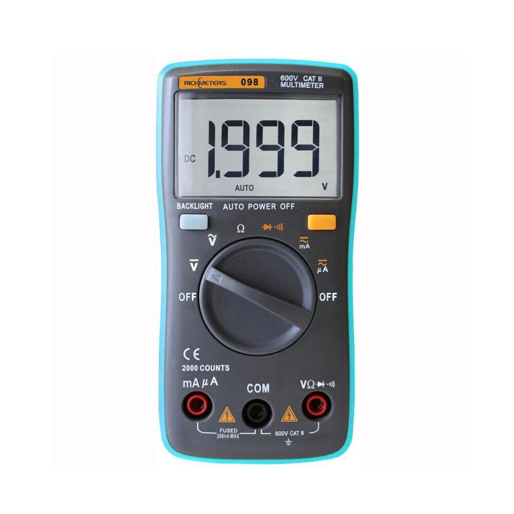 RM098 Multimeter DMM DC AC Amperemeter Voltmeter Ohm Diode Tester multimetro + 2 messleitungen + tragetasche 2000 s zählen hintergrundbeleuchtung