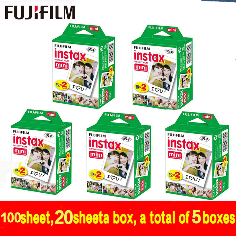 Original Fujifilm Fuji Instax Mini White Film 100 Sheet Instant Photo Paper For Instax Mini 8 7s 25 50s 55 SP-1 Camera free ship new 5 colors fujifilm instax mini 9 instant camera 100 photos fuji instant mini 8 film