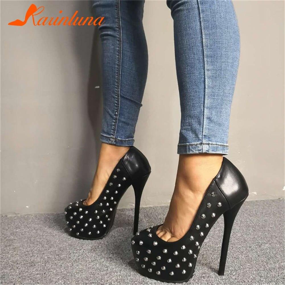 Marque Design Sexy grande taille 35-47 parti discothèque Cool Rivets femmes chaussures talons hauts plate-forme chaussures femme pompes femmes