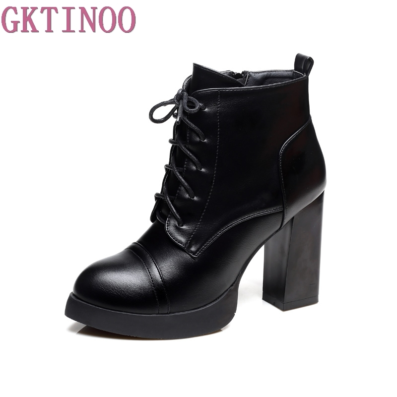 GKTINOO Autumn Winter Lace-up Women Short Boots Leather Square High Heel Round Toe Platform Ankle Boots Shoes Female