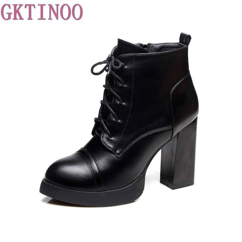 GKTINOO automne hiver bottes à lacets femmes courtes en cuir carré talon haut bout rond plate-forme bottines chaussures femme
