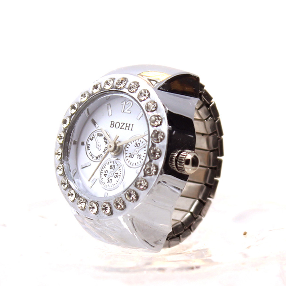 Retro Personality Elastic Quartz Watch Ring Men And Women Fashion Simple Accessories Couple Student Clock Rings @F