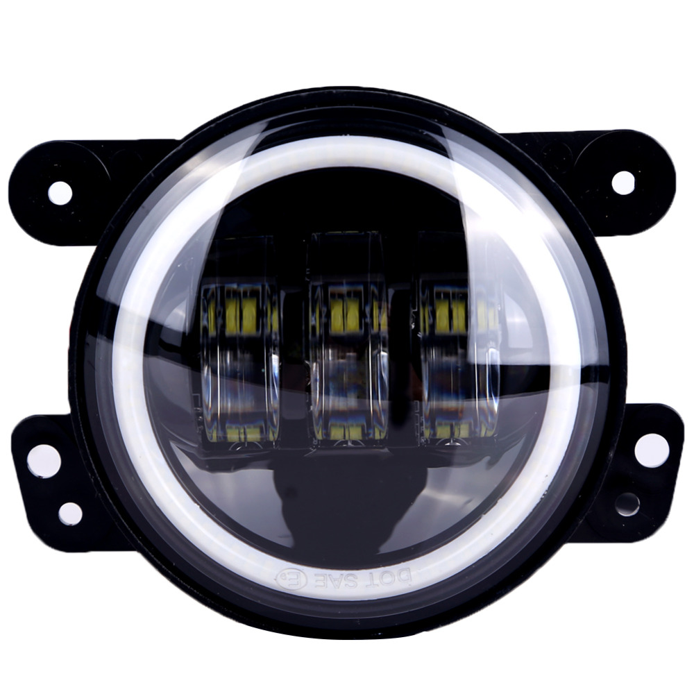 Buy For Jeep Wrangler Jk Led Fog Lights Lamp Lens 4 Inch Round Headlight Drl Halo Harley Dodge From Reliable